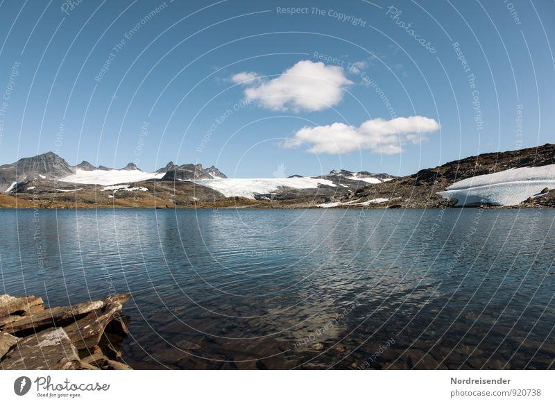 Jotunheimen Natur Ferien & Urlaub & Reisen blau weiß Wasser Sommer Landschaft Ferne kalt Berge u. Gebirge Freiheit See braun Stimmung Felsen Eis