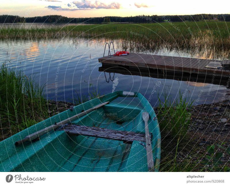 Ruderpause Natur blau Pflanze grün Wasser Sommer Erholung Einsamkeit Landschaft Wolken Umwelt Gras Holz See Luft Wellen