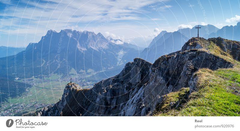 Zugspitze Himmel Natur blau grün Sommer Sonne Erholung Landschaft ruhig Wolken Berge u. Gebirge Herbst Bewegung Gras grau Felsen