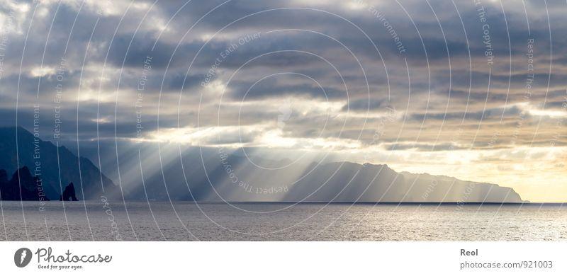 Die Steilküste von Madeira II Himmel Natur Ferien & Urlaub & Reisen blau Wasser Sommer Sonne Meer Landschaft Wolken Strand Umwelt Küste Felsen träumen orange