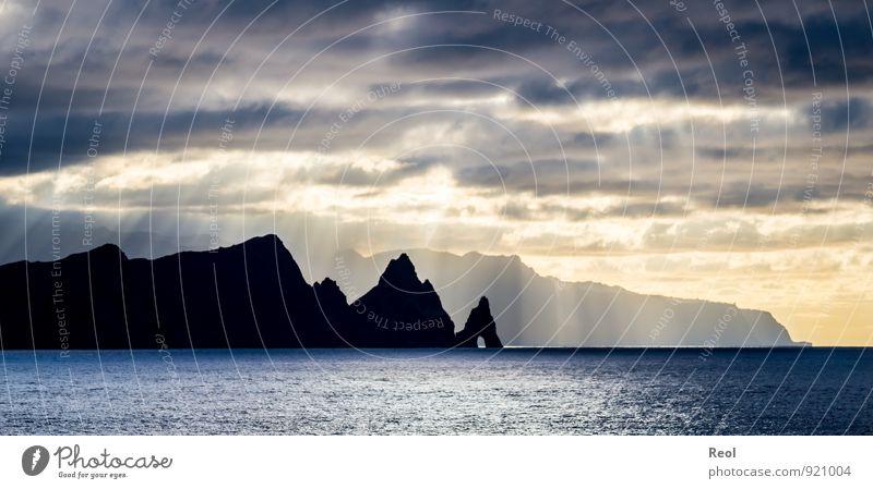 Die Steilküste von Madeira Segeln Kreuzfahrt Landschaft Urelemente Wasser Himmel Wolken Horizont Sonne Sonnenaufgang Sonnenuntergang Sonnenlicht Sommer Wetter