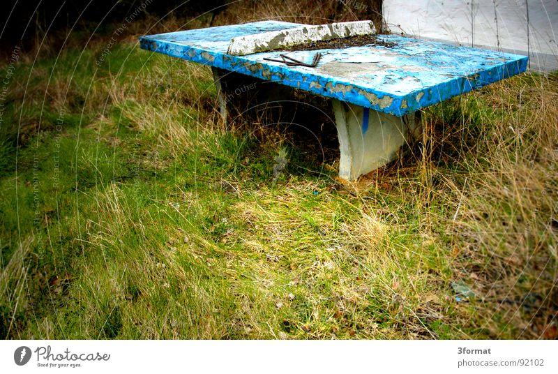 tischtennis alt Einsamkeit Haus Wiese kalt Herbst Gras Traurigkeit träumen Angst Freizeit & Hobby Beton leer trist Trauer Vergänglichkeit
