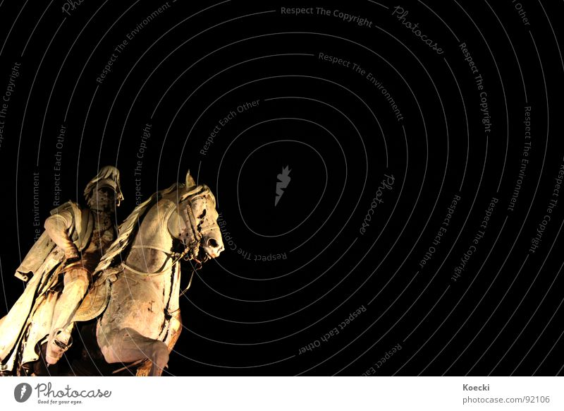 Einsamer Reiter Statue Pferd Köln Hohenzollernbrücke Licht erleuchten schwarz wilhelm der I Brücke Rhein rhine Reitsport