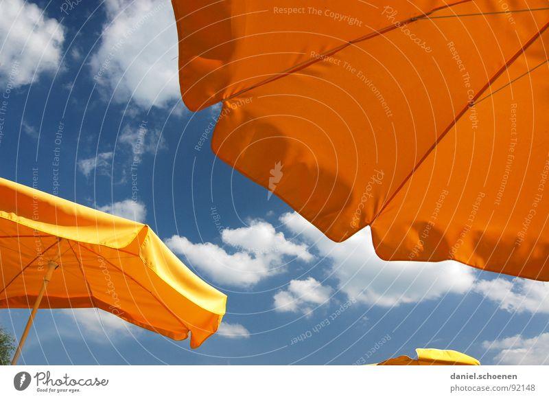 sommersonnesonnenschein Sommer Café Hintergrundbild schön Wolken Sonnenschirm gelb Ferien & Urlaub & Reisen Freizeit & Hobby Gastronomie Himmel Wärme eiscafe