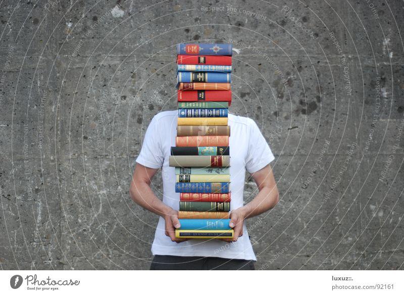lernen, lernen, pompernen Studium lesen Gymnasium Buch Lexikon Buchladen Bibliothek heben 21 Wand Beton clever geistreich gelehrt Prüfung & Examen Stapler