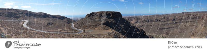GC-60 Landschaft Felsen Berge u. Gebirge Schlucht Gran Canaria Straße Ferne frei gigantisch braun grau Freiheit Farbfoto Außenaufnahme Menschenleer Tag