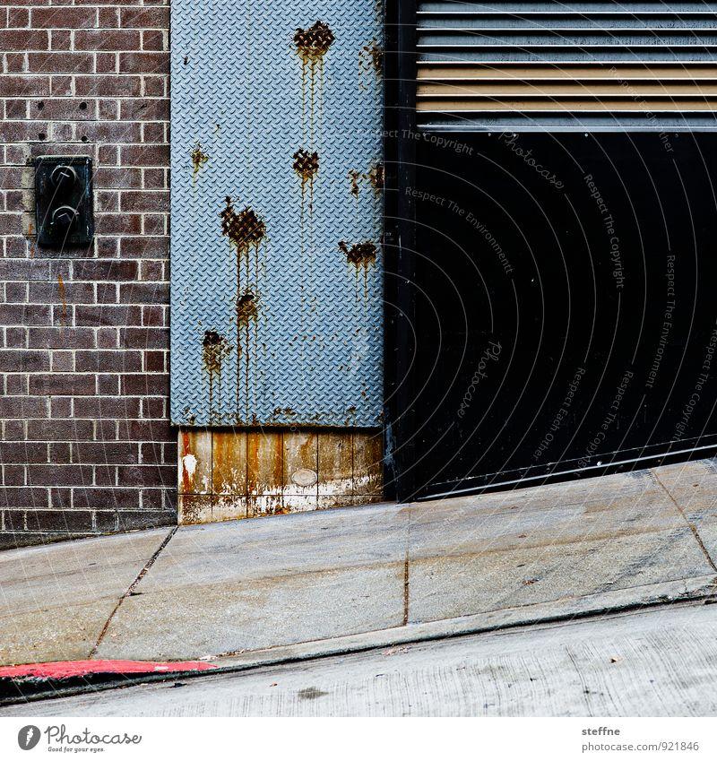 Schusswunden Mauer Wand Stadt Loch farbspritzer Einfahrt Steigung Neigung San Francisco Farbfoto Muster Strukturen & Formen Menschenleer Textfreiraum rechts
