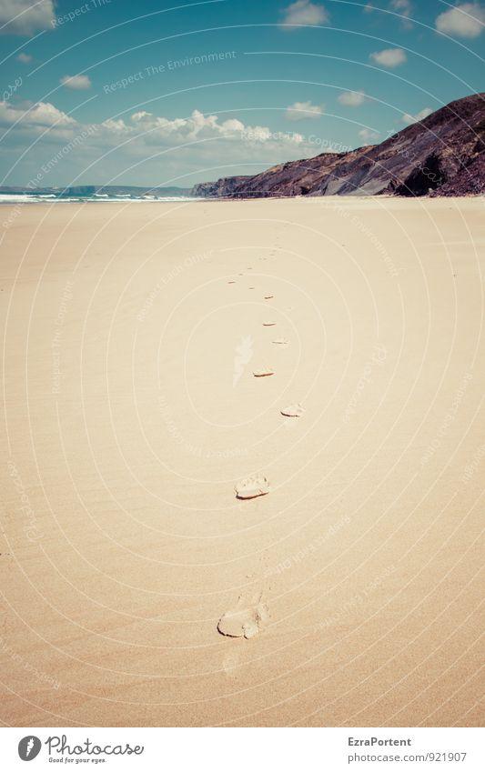 follow me! Himmel Natur Ferien & Urlaub & Reisen blau schön Sommer Sonne Erholung Meer Landschaft ruhig Wolken Strand Ferne Umwelt gelb