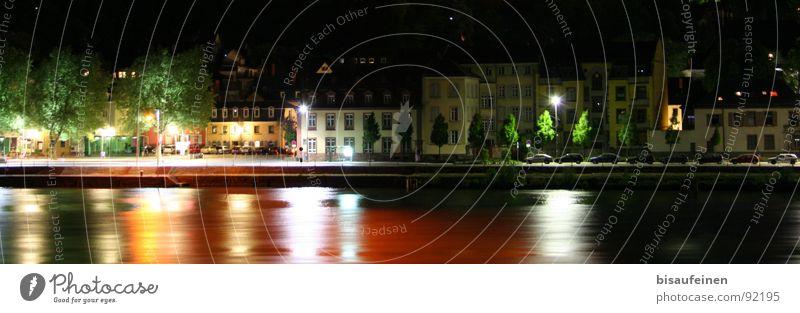 Im Flow Neckar Stadt Nacht Nachtaufnahme Fluss Flussufer Haus Heidelberg Reflexion & Spiegelung Farbe Deutschland