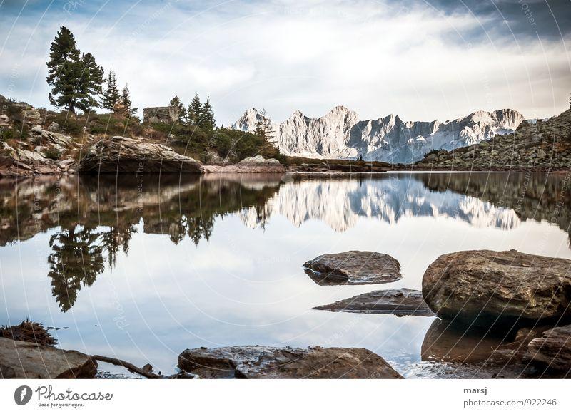 Seelenbalsam | ist, am Spiegelsee zu sitzen Ferien & Urlaub & Reisen Tourismus Ausflug Ferne Berge u. Gebirge wandern Gebirgssee Landschaft Himmel Wolken Sommer