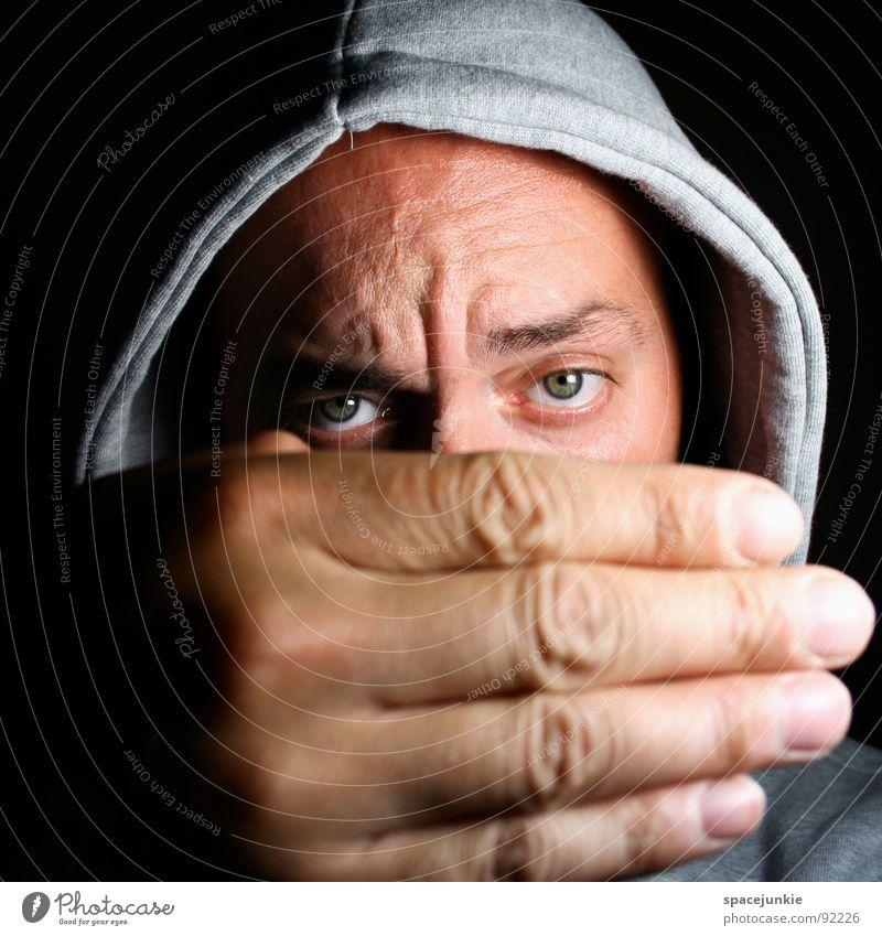 Big hand (2) Mann Hand Freude Auge lustig groß verrückt verstecken Pullover skurril Freak Kapuze Humor ernst Versteck Porträt