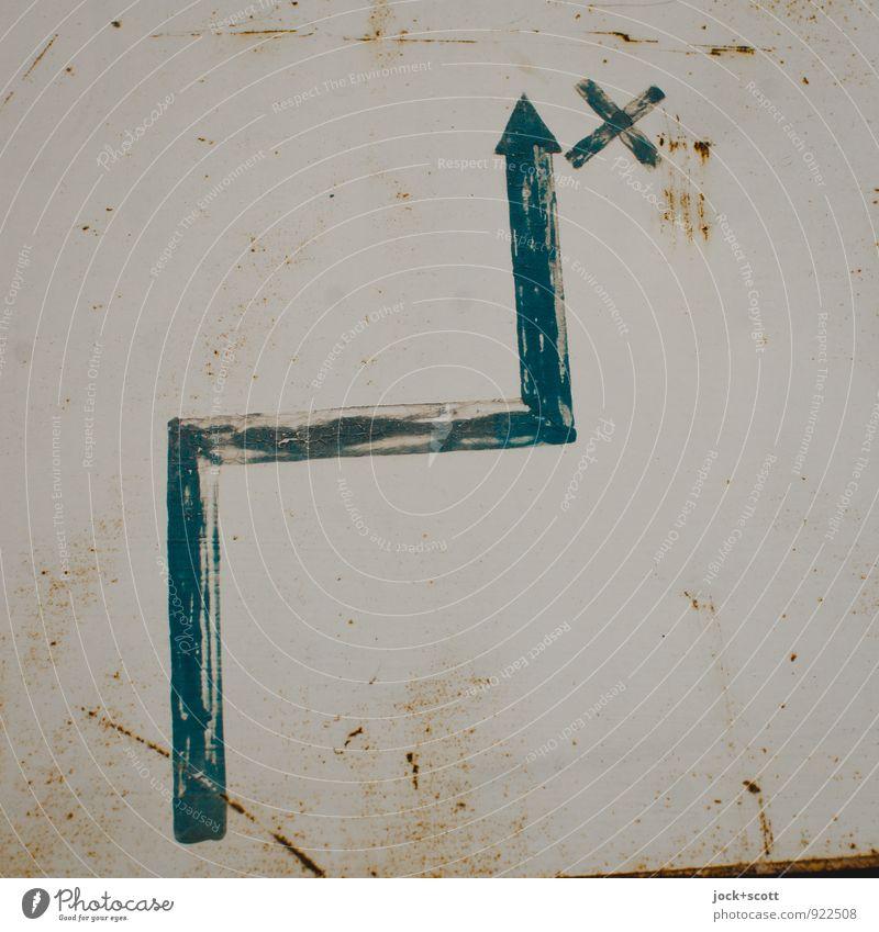 Ziel um die Ecke Grafik u. Illustration selbstgemacht Metall Rost Hinweisschild Kreuz Linie Pfeil planen Rätsel Vergangenheit Wege & Pfade Oberfläche Wegweiser