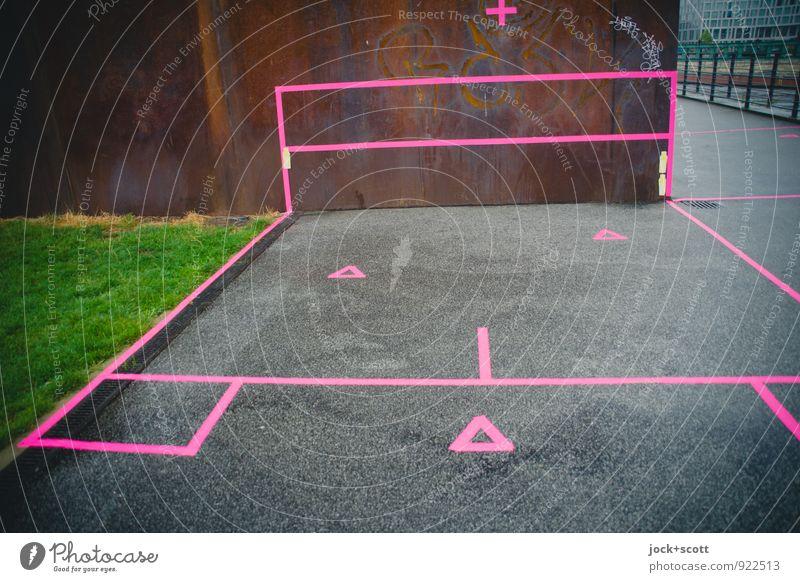 Territorium Stadt Ferne Wiese Linie Kunst rosa Kreativität Idee Flussufer Rost Stahl Stadtzentrum eckig Geometrie Anschnitt Sightseeing