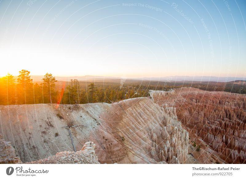 Bryce Canyon Umwelt Natur Landschaft Erde Sand Himmel Horizont Sonne Sonnenaufgang Sonnenuntergang Sonnenlicht blau gelb gold grau orange schwarz silber weiß