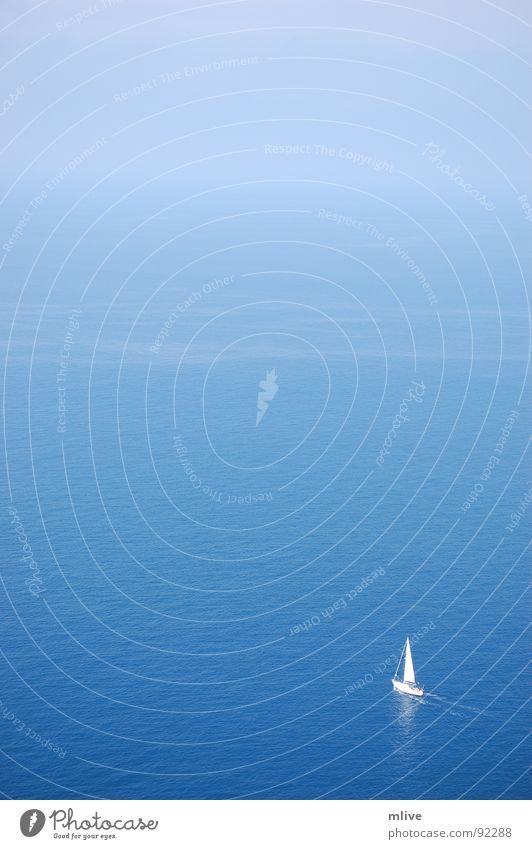 Blueliner Wasser Himmel Meer blau Ferien & Urlaub & Reisen Erholung Freiheit träumen Wellen Nebel Wind Freizeit & Hobby Unendlichkeit Mallorca Ewigkeit