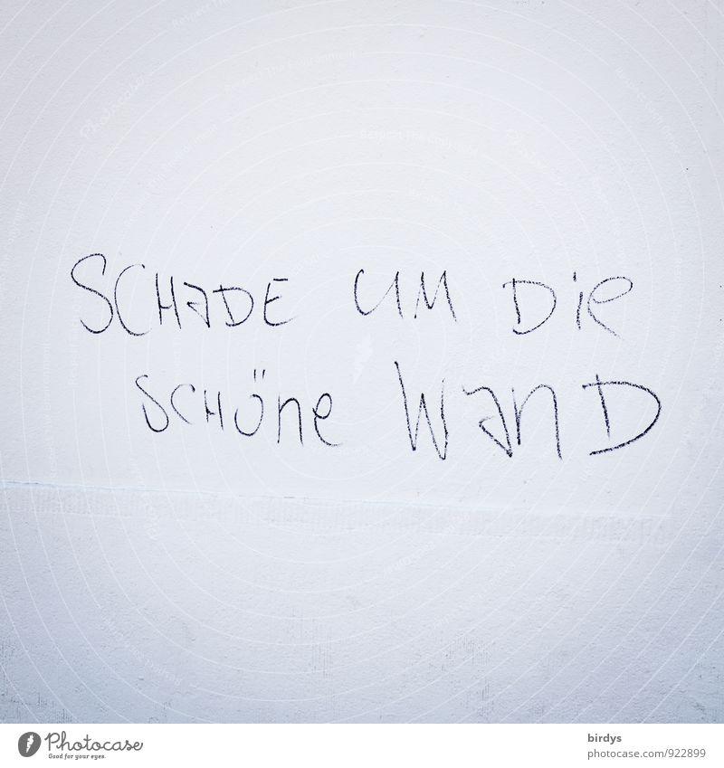 provokativer Sarkasmus mit Stil Straßenkunst Graffiti Mauer Wand Fassade Schriftzeichen frech lustig rebellisch schwarz weiß Kultur Ironie Aussage Text