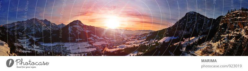Sunset Ferien & Urlaub & Reisen blau Sonne Erholung rot Landschaft ruhig Wolken Freude Winter Berge u. Gebirge Umwelt gelb Wärme Stil grau