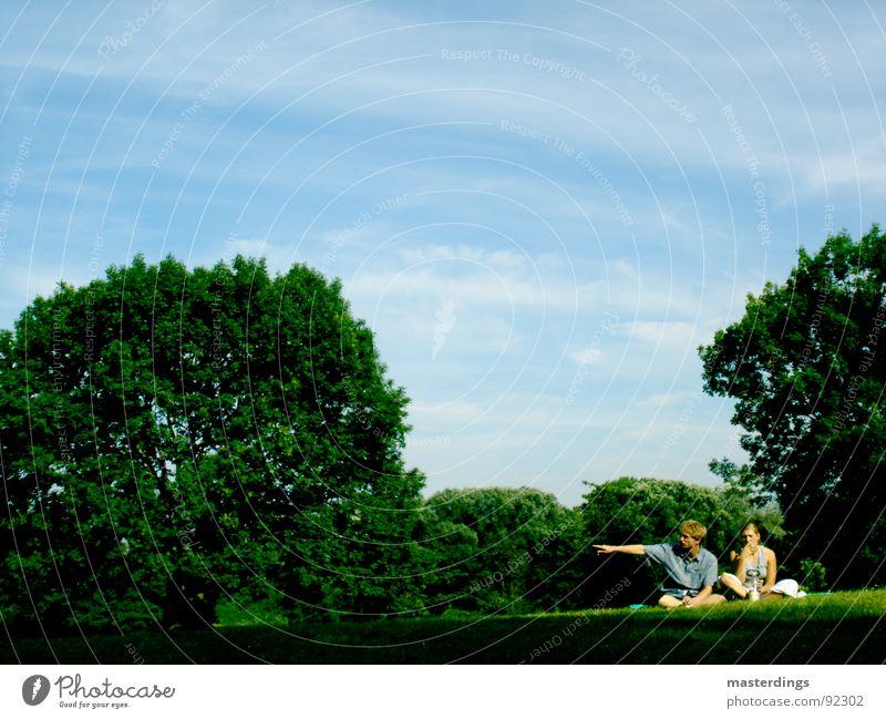 Richtungsweisend Frau Himmel Mann Natur Jugendliche blau grün schön Baum Wiese Gras Luft Wetter sitzen Rauchen Schönes Wetter