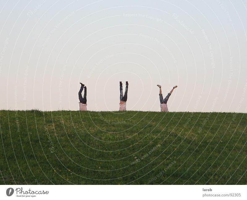 Ein ganz normaler Tag mal ganz anders Freude Wiese Freiheit Freundschaft Zusammenhalt Handstand
