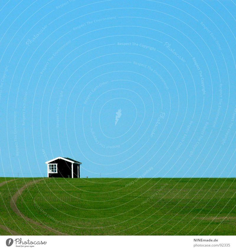 small & sweet Himmel blau weiß grün Sommer Einsamkeit Haus schwarz Fenster Wiese Frühling Holz Wege & Pfade Küste klein Linie