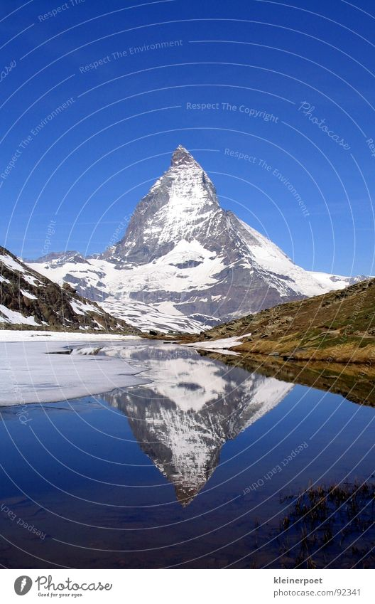 Matterhorn Natur Schnee Berge u. Gebirge See Landschaft Eis Spiegel Amerika Blauer Himmel