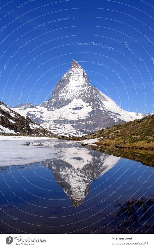Matterhorn See Spiegel Berge u. Gebirge Landschaft Amerika Natur Blauer Himmel Schnee Eis