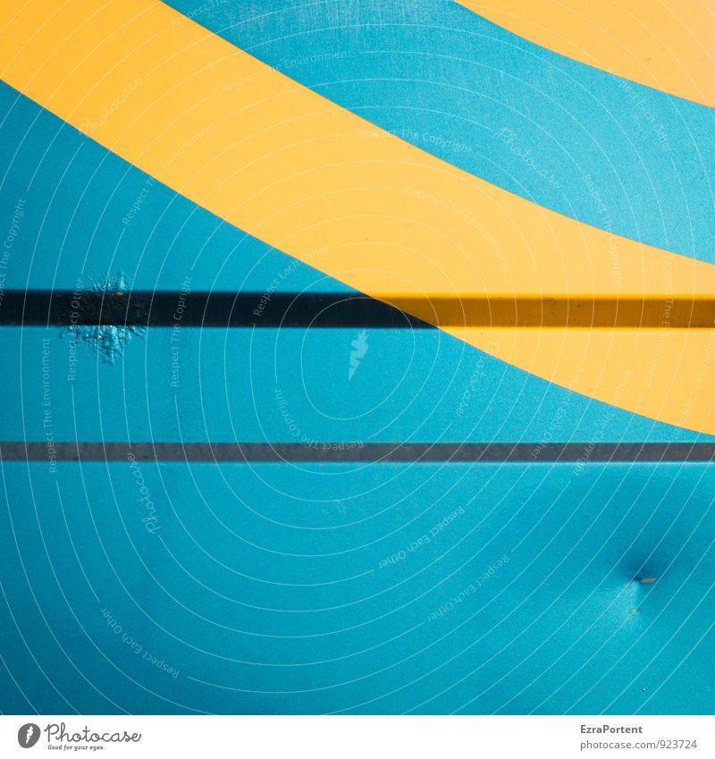 Sonne&Meer Verkehr Metall Zeichen Linie Streifen blau gelb Design Farbe Ferien & Urlaub & Reisen Karosserie Beule Grafik u. Illustration Grafische Darstellung