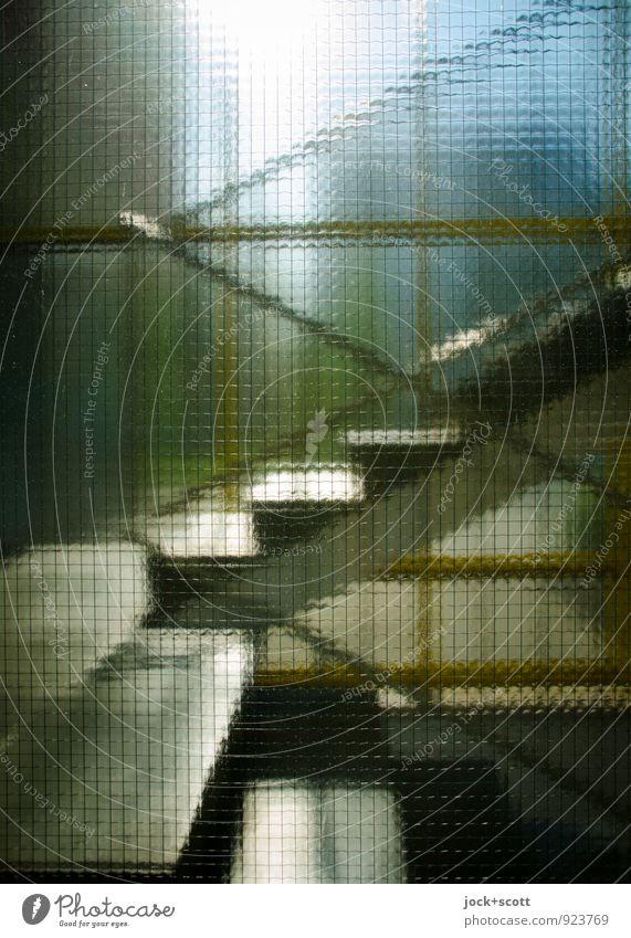 durchschaubar Architektur Wärme Treppe Treppenhaus Fensterscheibe eckig glänzend retro Symmetrie Wege & Pfade Zeit durchsichtig Treppenabsatz Geländer