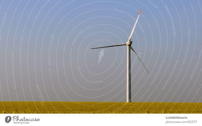 Windenergieanlage Himmel Frühling Energiewirtschaft Windkraftanlage Landwirtschaft himmelblau Rotor Rapsfeld Generator