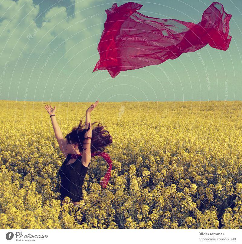 Raps II Frau grün blau rot Wolken gelb Farbe Frühling Landschaft Feld Landwirtschaft Schal Raps Schleier Rapsfeld
