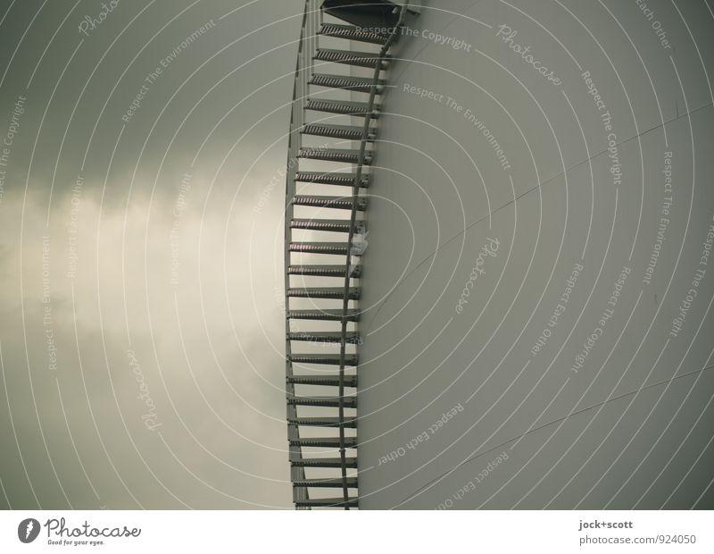 Himmelstreppe Dämmerung Himmel Sommer Wolken Wand Mauer grau Zeit Linie Energiewirtschaft Ordnung Treppe Zufriedenheit modern Perspektive einfach planen