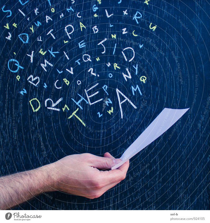 sltd Lifestyle Freude Freizeit & Hobby Spielen lesen Entertainment Bildung Schule Tafel Lehrer maskulin Hand Kunst Kunstwerk Kreidezeichnung Medien