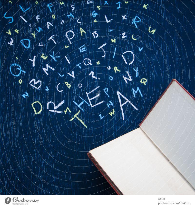 sltdtw Lifestyle Freizeit & Hobby Spielen lesen Entertainment Bildung Schule Tafel Kunst Kunstwerk Kreidezeichnung Medien Printmedien Buch Schriftzeichen fallen