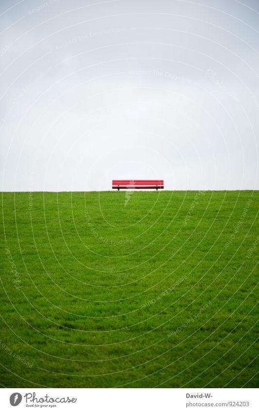 Sitzgelegenheit voraus Leben harmonisch Erholung ruhig Meditation Ferien & Urlaub & Reisen Ausflug Ferne wandern Landschaft Wolken Wiese Hügel Nordsee Ostsee