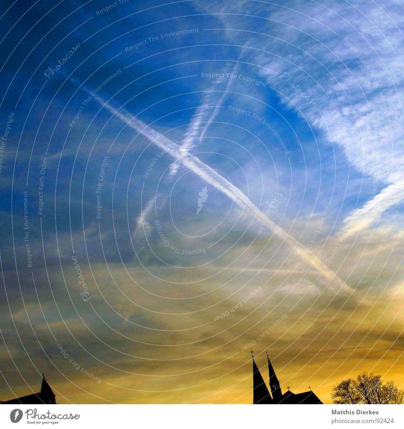 SOMMERZEIT Himmel blau schön Sommer Wolken Ferne schwarz Gebäude Religion & Glaube Kunst gold Klima Luftverkehr Kirche Vergänglichkeit Ende