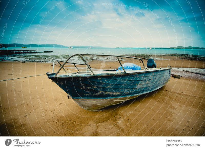 boating slip thursday exotisch Ferne Strand Wolken Küste Pazifikstrand Insel Motorboot dreckig maritim Stimmung standhaft Horizont Idylle Pause Zeit gebraucht