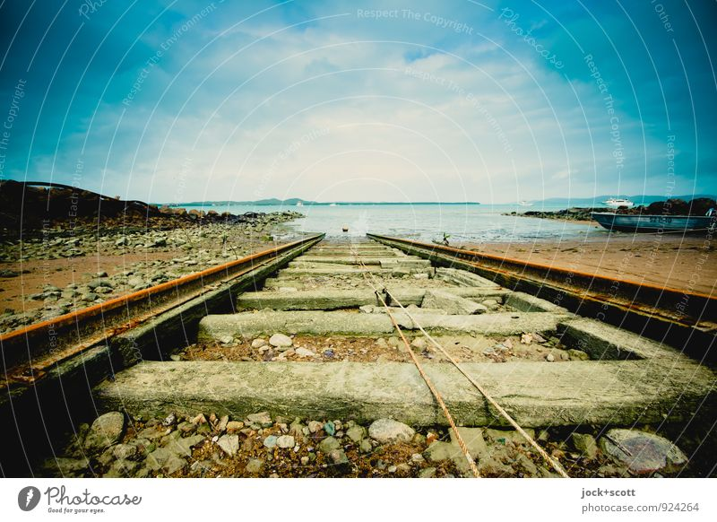 Slipway Thursday Ferne Horizont Pazifik Pazifikstrand Insel Anlegestelle Gleise Seil Rost frei lang Idylle Güterverkehr & Logistik Wege & Pfade tropisch