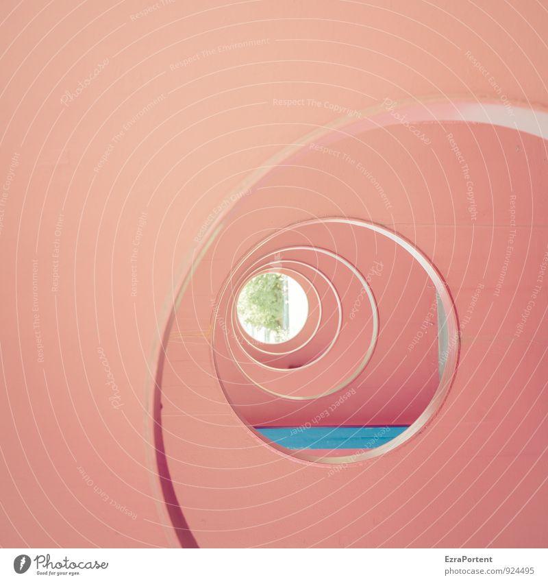Durchblick Kunst Pflanze Baum Haus Tunnel Mauer Wand Fassade Beton blau rot rund kreisrund Kreis Anschnitt Linie anders Perspektive seitwärts Design graphisch