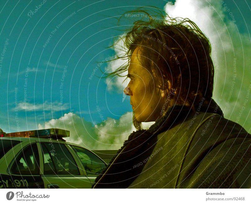 Auf der sicheren Seite Mann blau Denken warten Erwachsene Jacke Bart Polizist Leder