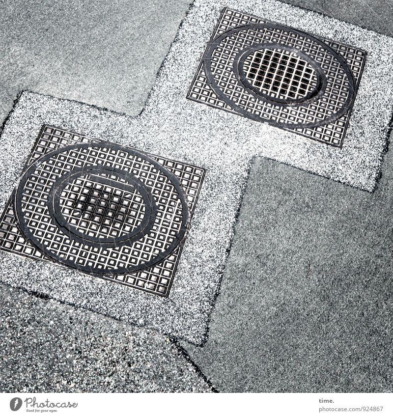 o° Straße Wege & Pfade Stein Metall liegen Arbeit & Erwerbstätigkeit Ordnung Design Verkehr geschlossen Grafik u. Illustration Baustelle Schutz planen