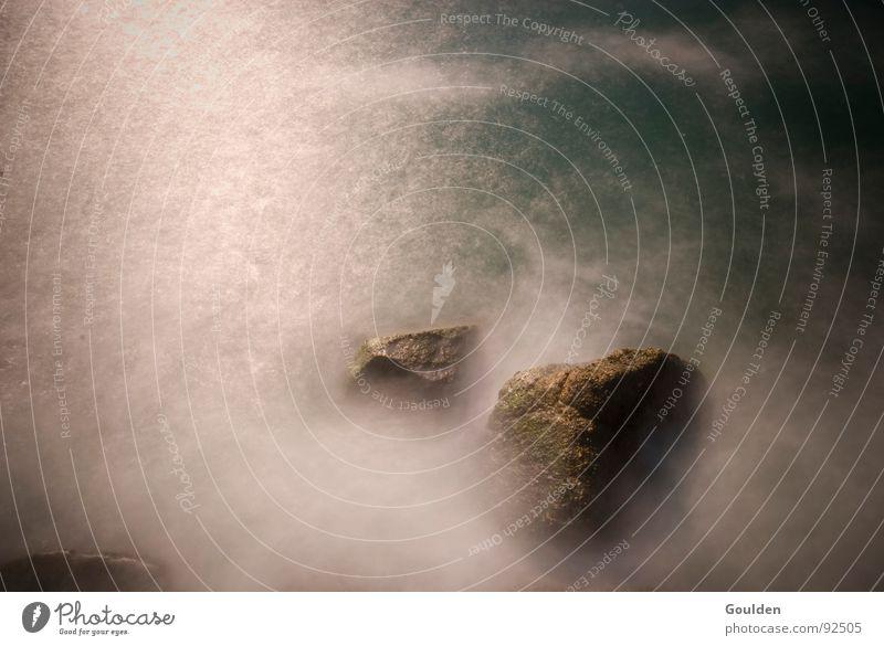 Bild 0 Wasser weiß Meer blau Wolken träumen See Landschaft Kraft Wellen Küste Nebel Felsen Kraft tief Nordsee