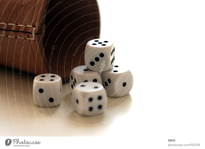 4-2-1-2-5 Becher Würfelbecher Würfelspiel Ziffern & Zahlen schwarz weiß braun Naht Spielen würfeln Desaster Leder 3 6 klein Rechteck Quadrat Glückspiel Punkt