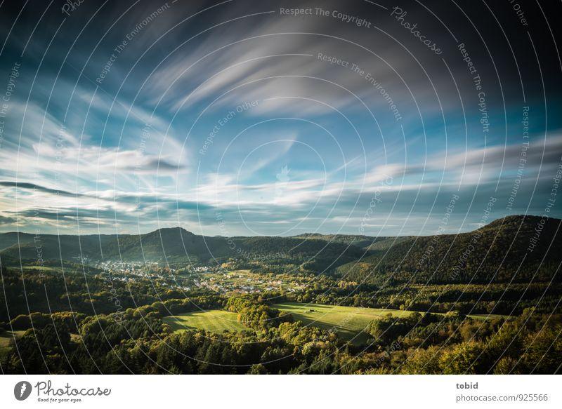 Malerische Pfalz Natur Landschaft Pflanze Himmel Wolken Horizont Sonne Sonnenlicht Sommer Herbst Schönes Wetter Wind Baum Gras Wiese Feld Wald Hügel Gipfel