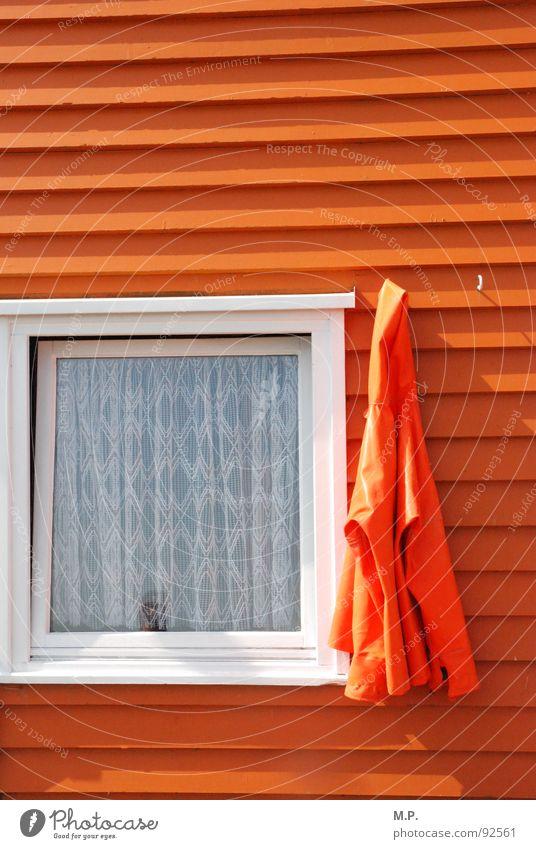Orange pur! orange weiß Fenster Haus Jacke Rahmen graphisch Kontrast Farbe mehrfarbig Helgoland Fischereiwirtschaft Hütte Holz quer hängen Gardine
