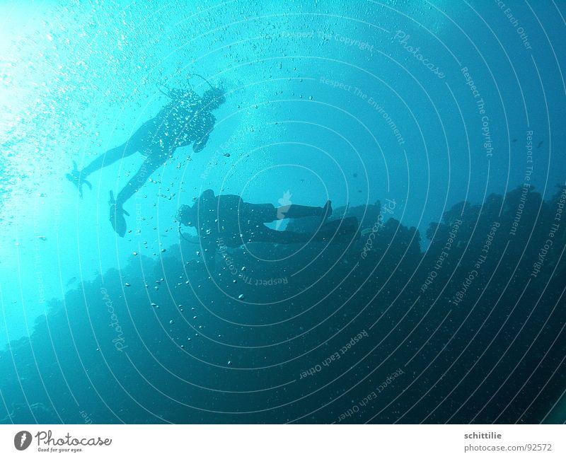 DeepBlueSea Taucher Meer Luft Licht Wassersport Mann blau blasen Sonne