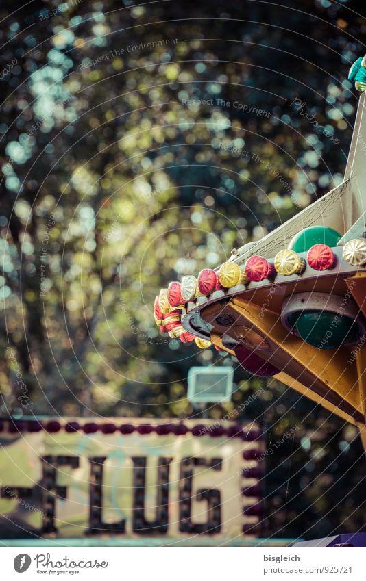Karussell Jahrmarkt Spielen grün Freizeit & Hobby Freude Farbfoto Außenaufnahme Menschenleer Textfreiraum oben Tag Schwache Tiefenschärfe