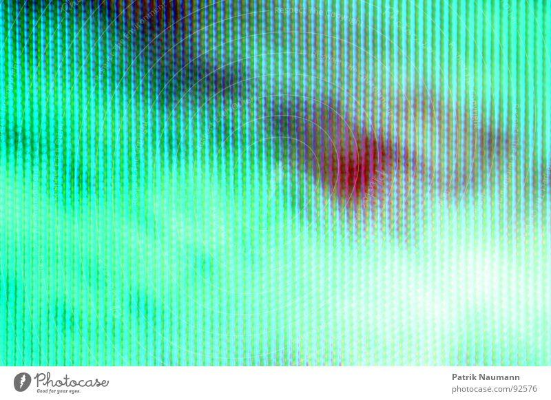 grüne Mattscheibe Fernsehen Bewusstseinsstörung türkis abstrakt Raster Fernseher rot Farbe Detailaufnahme Makroaufnahme fesselnd Irritation