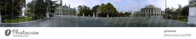 360° Pano-Burgtheater/Rathaus Architektur groß Platz Aussicht Wien Panorama (Bildformat) Österreich