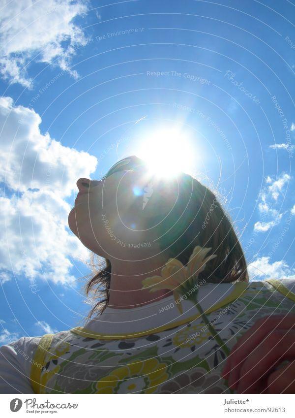 Nasenwolkensonnenberührerin Frau schön Himmel Sonne Blume Wolken Farbe Lampe Durchbruch