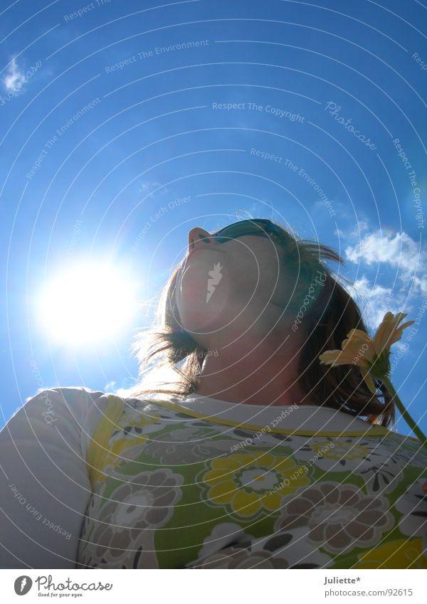 Sunshine Raggae Frau schön Himmel Sonne Blume Farbe Beleuchtung frisch Leichtigkeit